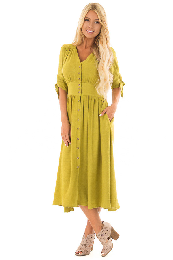 Avocado Button Down Dress with Tie Sleeve Detail front full body