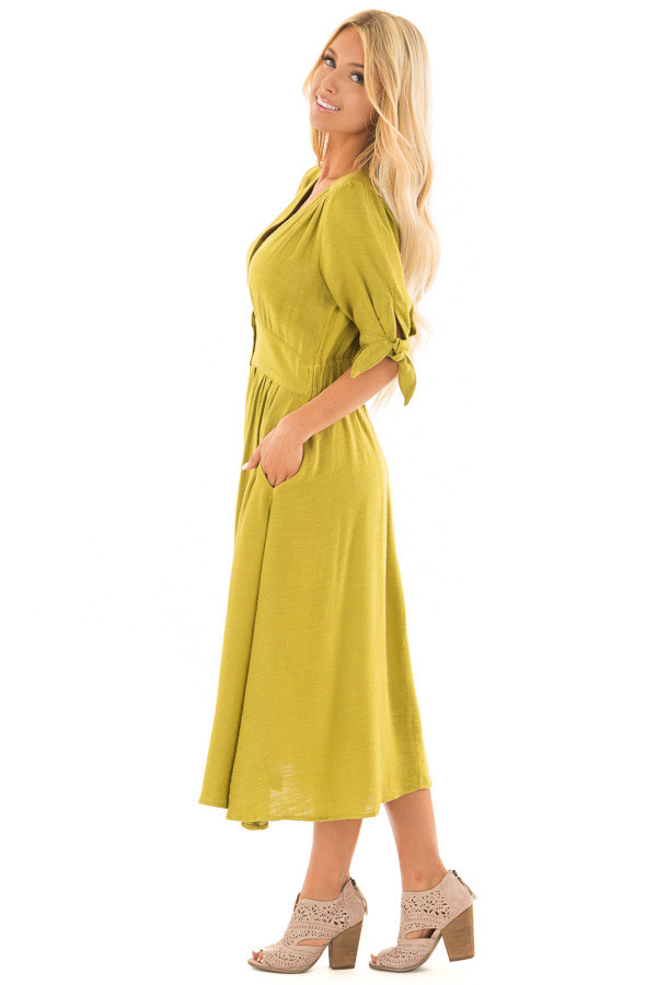 Avocado Button Down Dress with Tie Sleeve Detail side full body