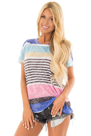 Washed Multicolor Striped Short Sleeve Tee Shirt front close up