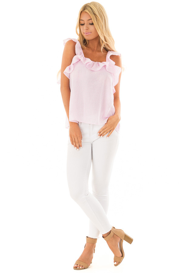 Blush Checkered Top with Flutter Sleeves front full body