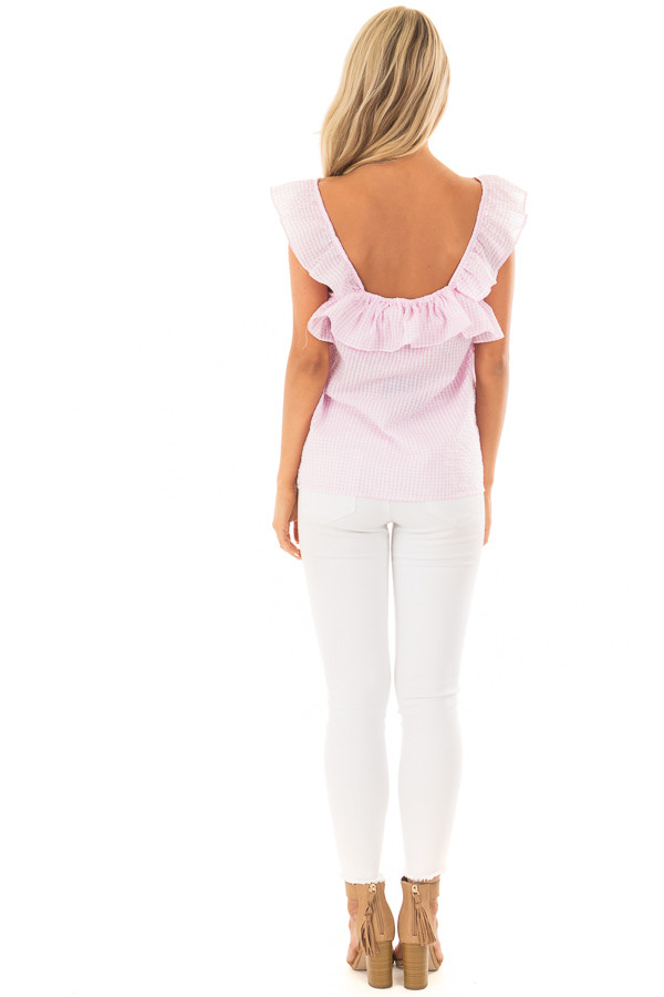Blush Checkered Top with Flutter Sleeves back full body