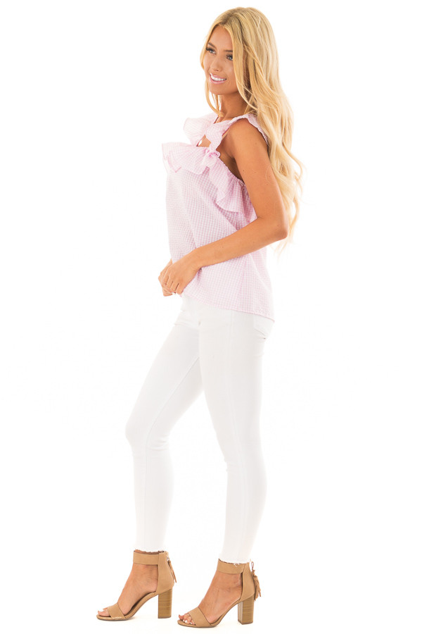 Blush Checkered Top with Flutter Sleeves side full body