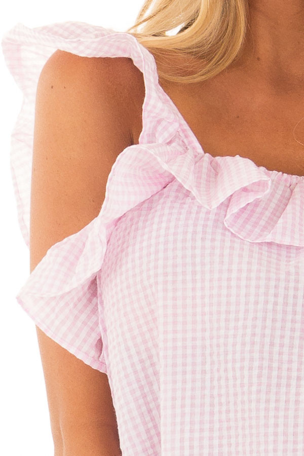 Blush Checkered Top with Flutter Sleeves detail