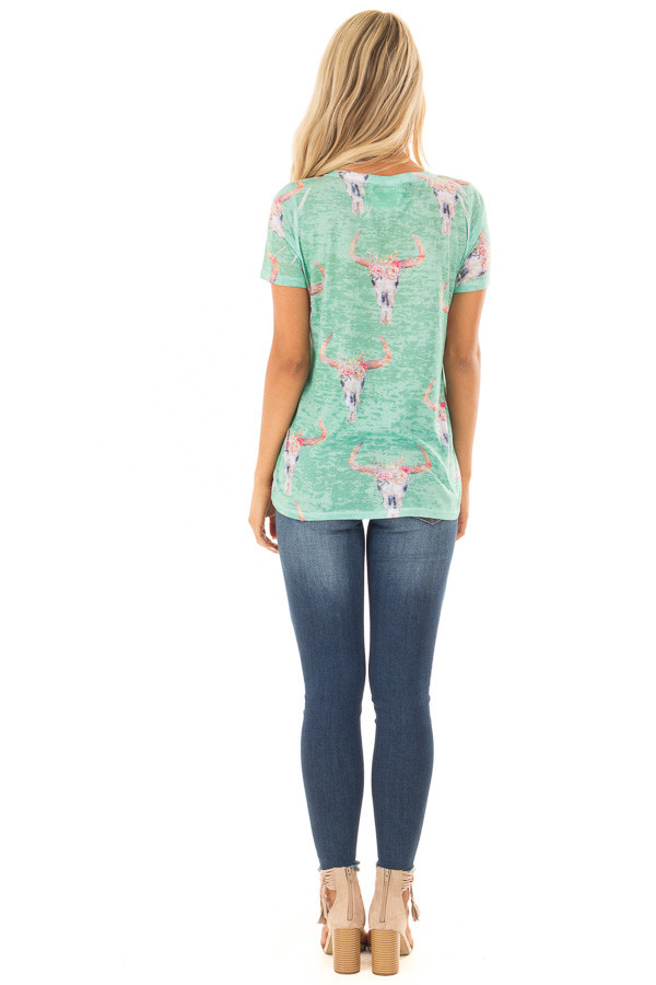 Green Mint Skull Floral Print Washed Tee Shirt back full body