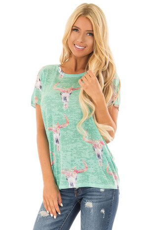 Green Mint Skull Floral Print Washed Tee Shirt front close up