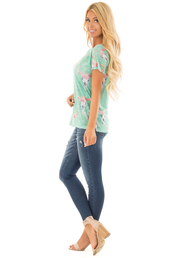 Green Mint Skull Floral Print Washed Tee Shirt side full body