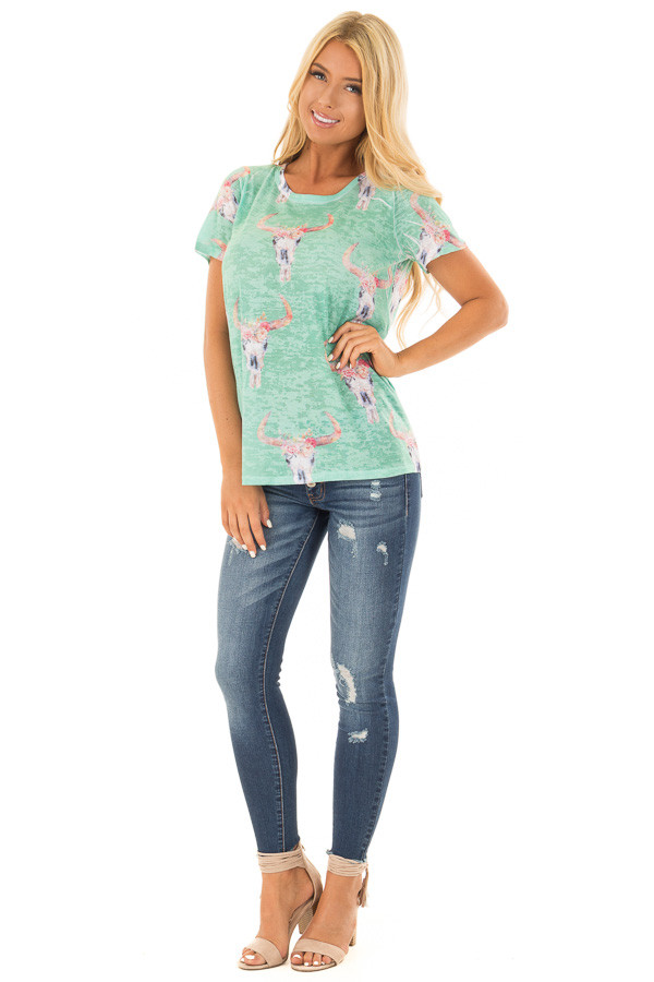 Green Mint Skull Floral Print Washed Tee Shirt front full body