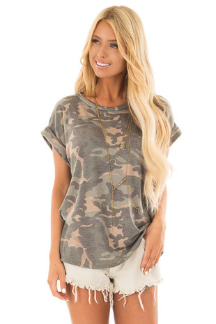 Olive Camo Print Tee Shirt with Cuffed Short Sleeves front close up