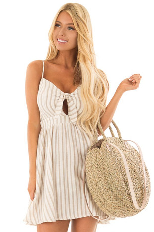 Taupe and Off White Striped Dress with Front Tie front close up