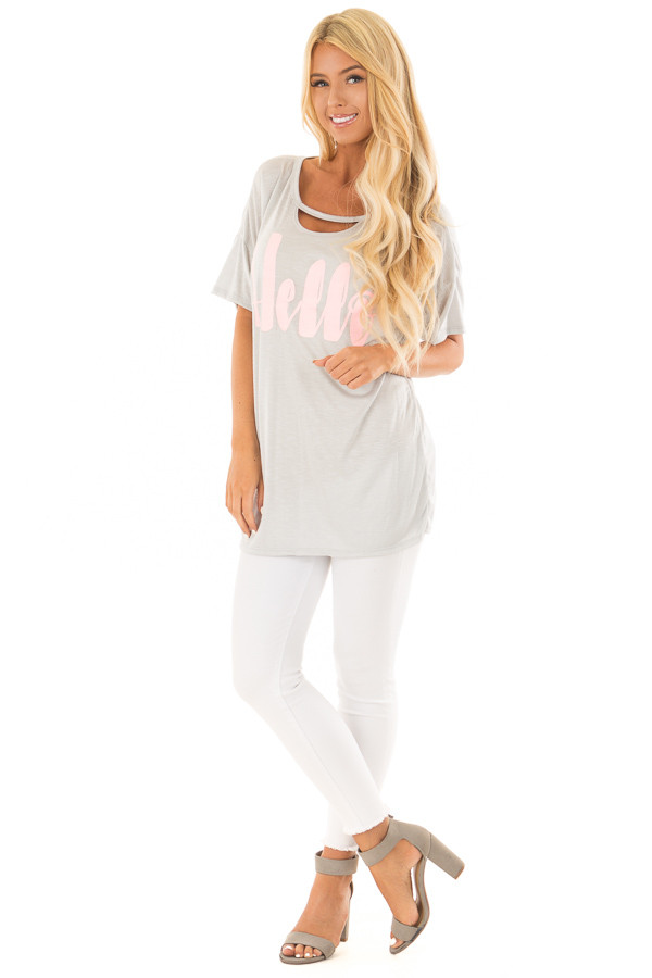Light Grey Tee Shirt with Bubblegum 'Hello' Script front full body