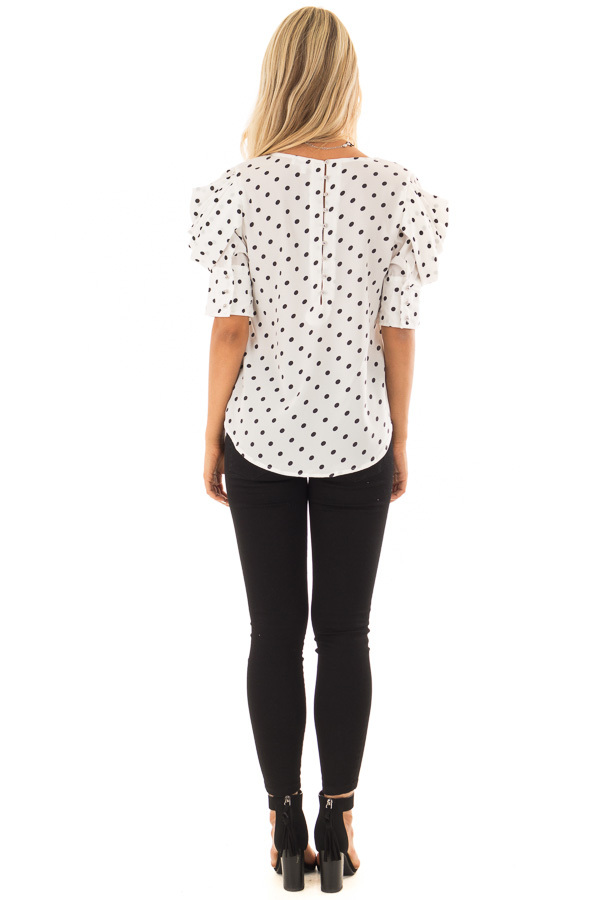 White and Black Polka Dot Blouse with Bishop Sleeve Overlay back full body