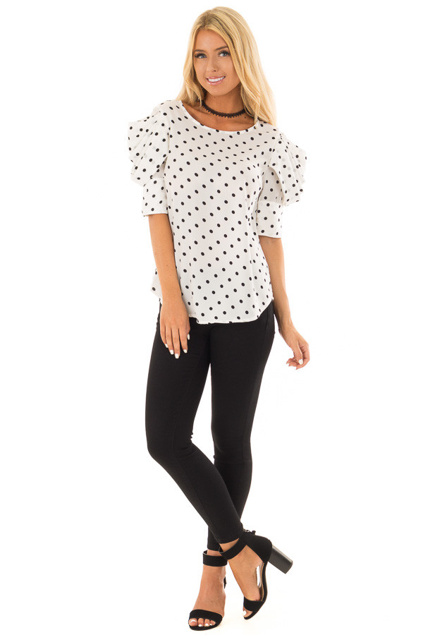 White and Black Polka Dot Blouse with Bishop Sleeve Overlay front full body