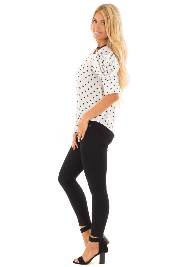 White and Black Polka Dot Blouse with Bishop Sleeve Overlay side full body