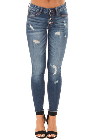 Dark Wash Ankle Skinny Jean with Distressed Details front view