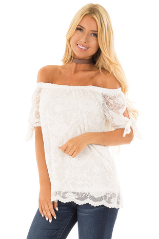 White Lace Off the Shoulder Top with Tie Sleeve Detail front close up