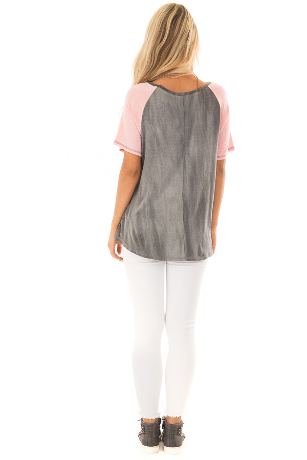 Charcoal Tee with Blush Raglan Sleeves and Front Pocket back full body