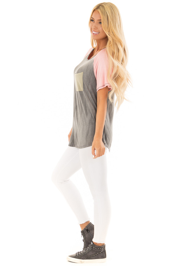 Charcoal Tee with Blush Raglan Sleeves and Front Pocket side full body