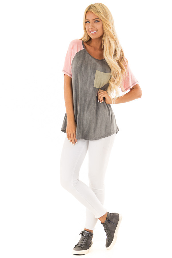Charcoal Tee with Blush Raglan Sleeves and Front Pocket front full body