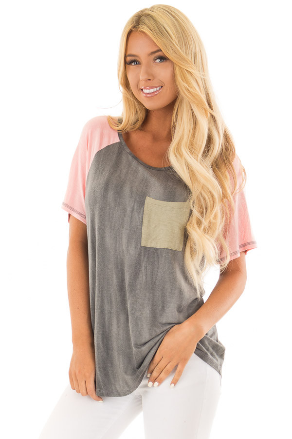Charcoal Tee with Blush Raglan Sleeves and Front Pocket front close up