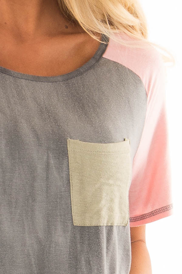 Charcoal Tee with Blush Raglan Sleeves and Front Pocket detail