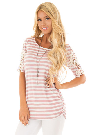 Mauve and Ivory Striped Tee with Lace Details front close up