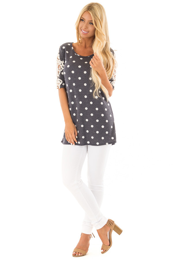 Navy Polka Dot Top with Sheer Lace Sleeve Detail front full body