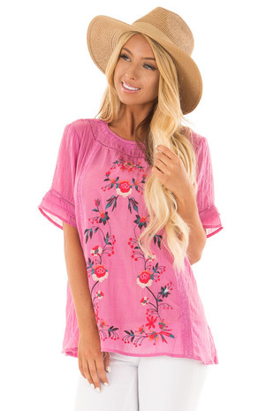 Petal Pink Short Sleeve Top with Floral Embroidery front close up