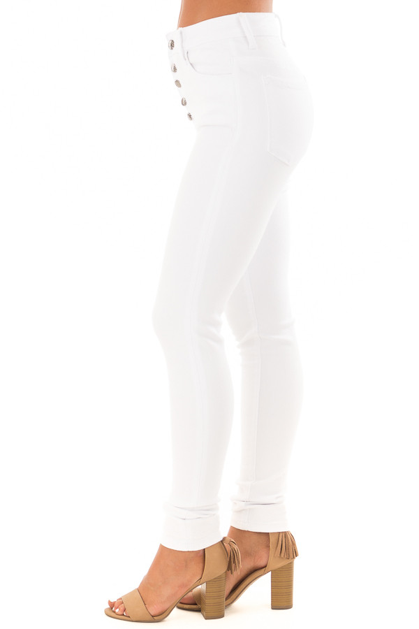White High Waisted Skinny Jeans side view