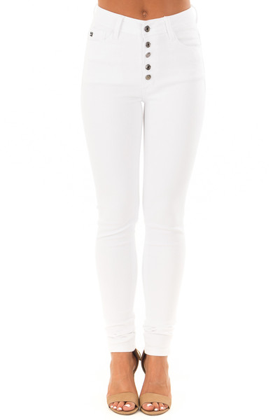 White High Waisted Skinny Jeans front view