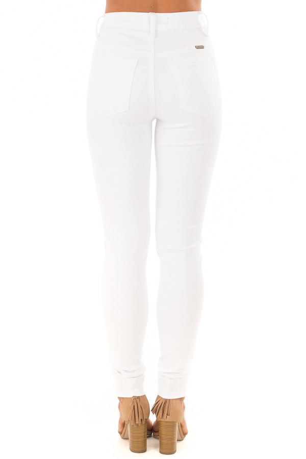 White High Waisted Skinny Jeans back view