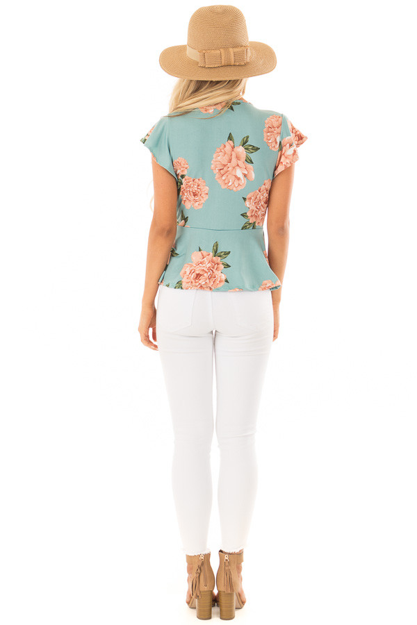 Slate Mint Floral Top with Front Tie and Butterfly Sleeves back full body
