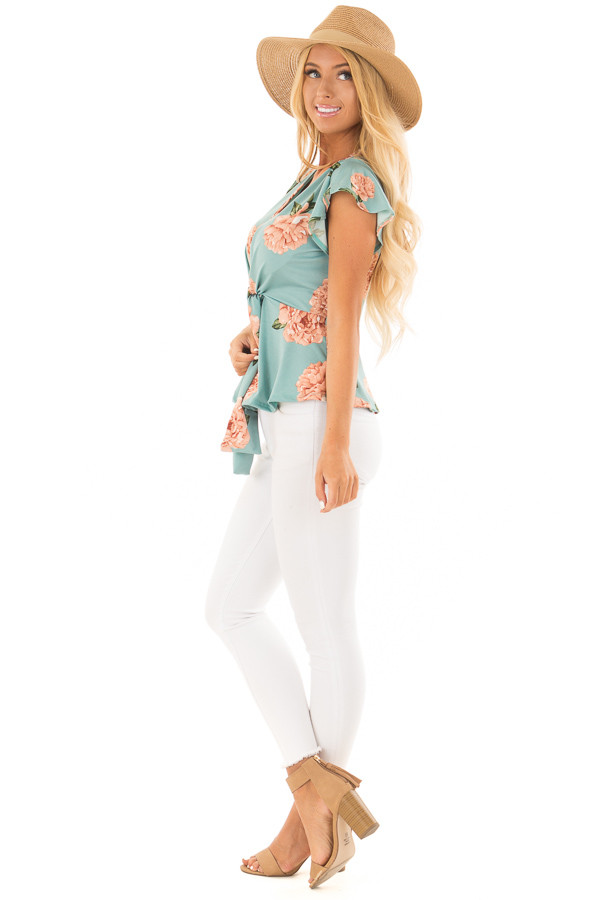 Slate Mint Floral Top with Front Tie and Butterfly Sleeves side full body