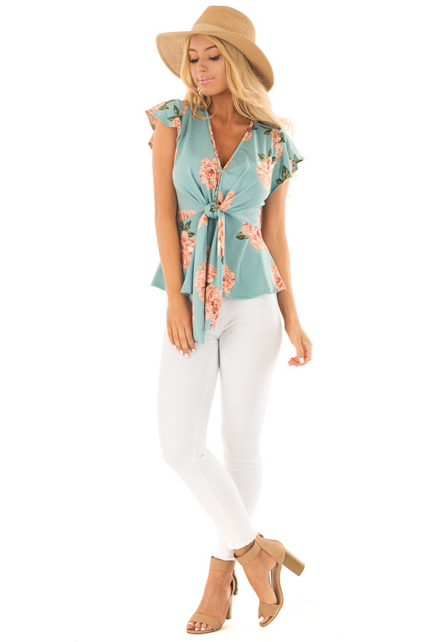 Slate Mint Floral Top with Front Tie and Butterfly Sleeves front full body