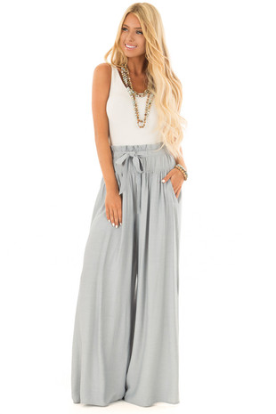 Dusty Blue Flowy Wide Leg Pants front full body