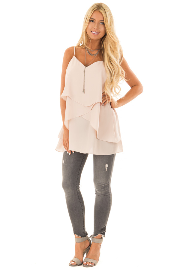 Nude Blush Flowy Layered Tank Top front full body