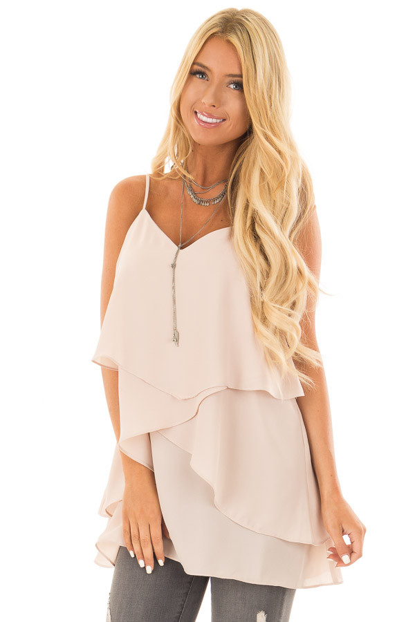 Nude Blush Flowy Layered Tank Top front close up