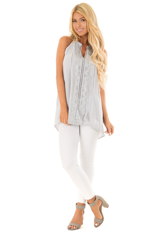 Baby Blue Tank Top with Sheer Lace Details front full body