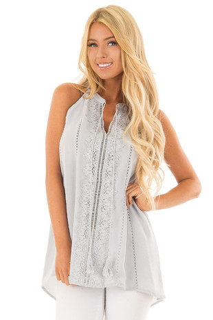 Baby Blue Tank Top with Sheer Lace Details front close up