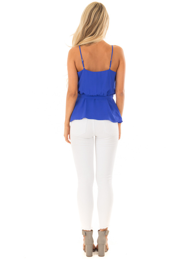 Cobalt Spaghetti Strap Top with Wrap Detail back full body