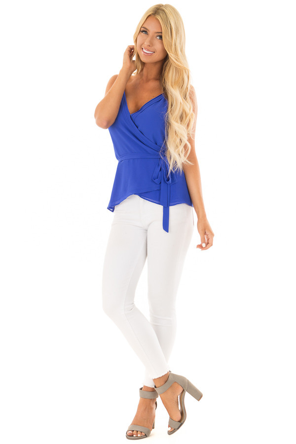 Cobalt Spaghetti Strap Top with Wrap Detail front full body
