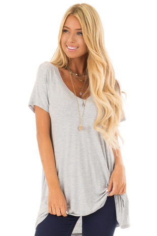 Heather Grey Tee Shirt with V Neck Front and Back front close up