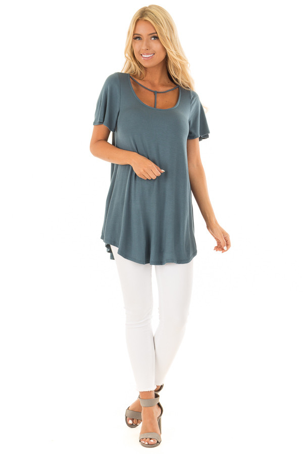 Antique Blue T Strap Neckline Comfy Tee Shirt front full body