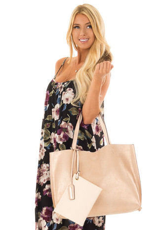 Solid Nude and Shimmer Snake Skin Print Reversible Tote front close up