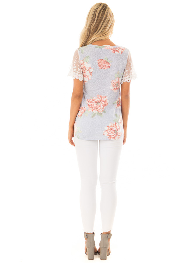 Sky Blue Floral Two Tone Tee with Detailed Lace Sleeves back full body