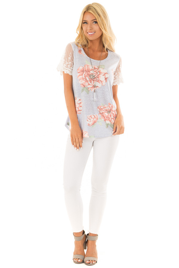 Sky Blue Floral Two Tone Tee with Detailed Lace Sleeves front full body