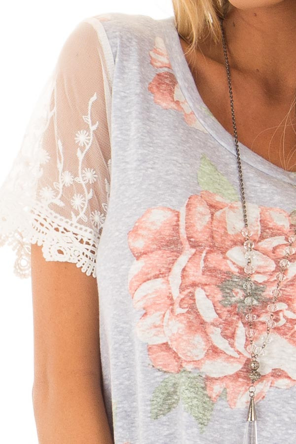 Sky Blue Floral Two Tone Tee with Detailed Lace Sleeves detail