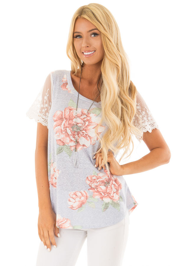 Sky Blue Floral Two Tone Tee with Detailed Lace Sleeves front close up