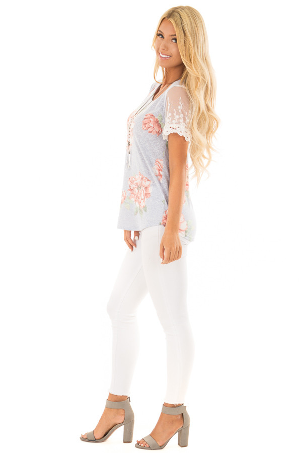 Sky Blue Floral Two Tone Tee with Detailed Lace Sleeves side full body