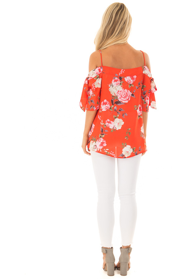 Tomato Red Floral Print Cold Shoulder Top with Tie Details back full body