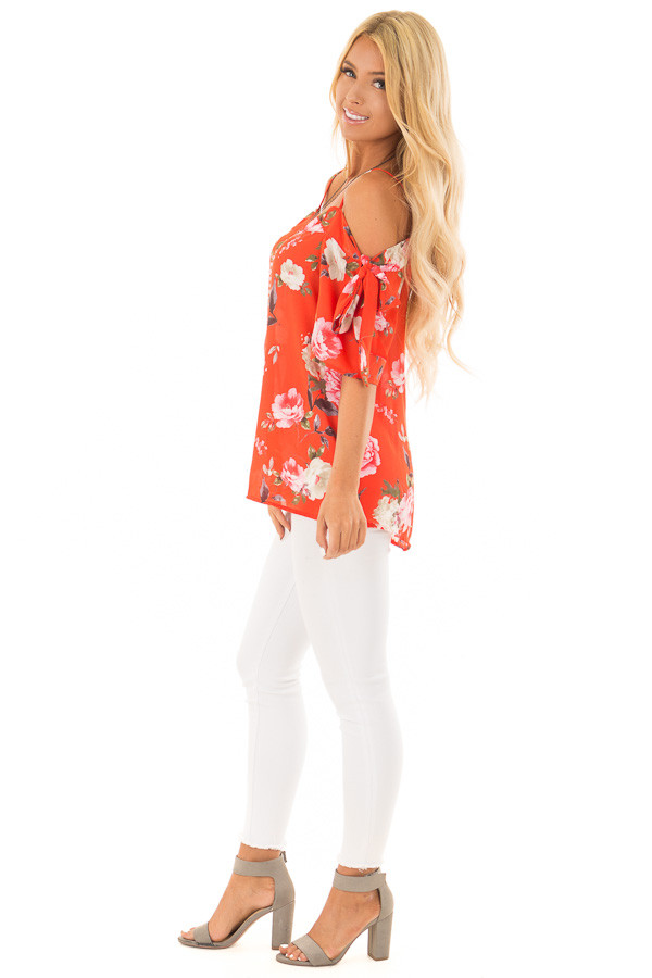 Tomato Red Floral Print Cold Shoulder Top with Tie Details side full body